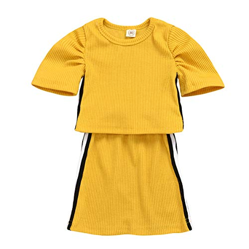 Baby Girl Knitted Clothes Sets Toddler Kids Knitted Short Sleeve Top + Pencil Skirt Dress 2PCS Outfits (Yellow, 3-4 Years)