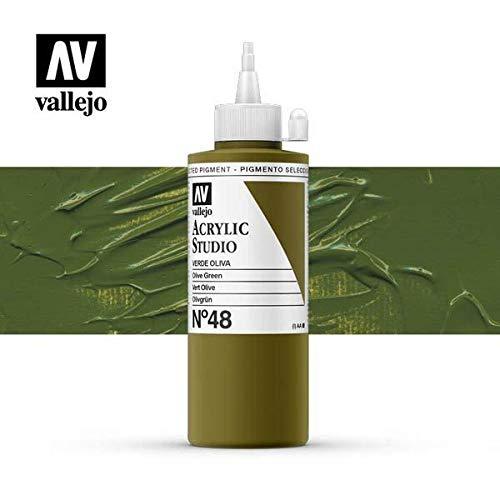 VALLEJO ACRYLIC STUDIO, PINTURA ACRÍLICA, 200ML, VERDE OLIVA, Nº 48