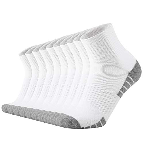 ONKE Cotton Moisture Wicking Comfort Fit Performance Cushion Ankle Low Cut Running Socks for Men 10 Pack(White L)