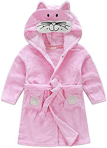 Kids Little Boys Girls Hooded Pajamas Cartoon Animal Bath Robes(Pink cat, 3-4T(Height:39.4'-43.3'/100-110cm))