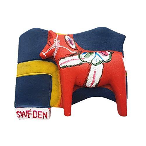 Kühlschrankmagnet mit 3D-Nationalflagge & Dala-Pferd von Schweden, Reise-Souvenir, Geschenk, Heim- & Küchendekoration, magnetischer Aufkleber, Schweden-Kühlschrankmagnet