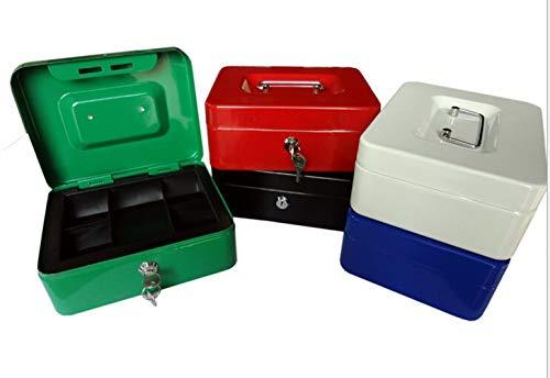 6 Inch Small Steel Cash Box Safty box met afneembare lade en sleutelslot 2 toetsen wit