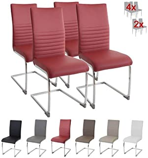 Albatros Silla Cantilever BURANO Set de 4 sillas Rojo, SGS