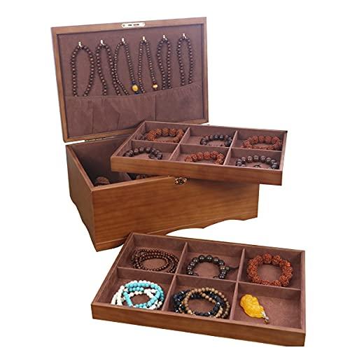 LSRRYD Caja Joyero para Mujer Organizador Joyas de 2 Niveles Grande Jewelry Organizer Box Caja Joyería de Tabique Extraíble para Anillos Pendientes Pulseras y Collares (Size : 35 * 27 * 15.5CM)