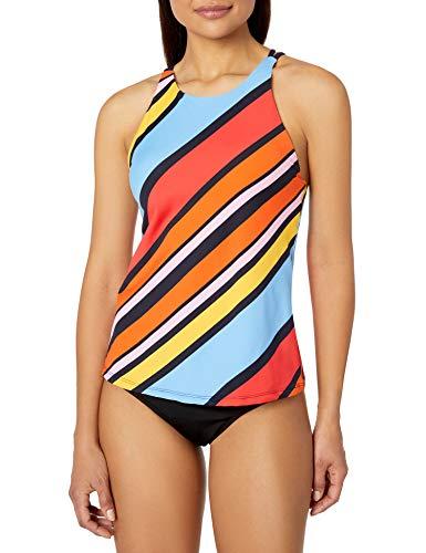 Nautica Women's High Neck Double Cross Back Tankini Top Swimsuit, Newport Stripe, Large