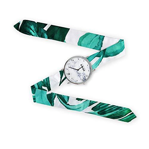 Reloj de pulsera con pañuelo de Gabriel Rivaz – Pulsera de seda – Reloj de fondo mármol – Mecanismo japonés – Green Summer