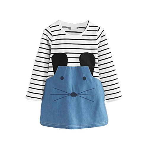 Loveble Mini vestido casual de algodón con estampado de rayas de una pieza hasta la rodilla con diseño de ratón de dibujos animados