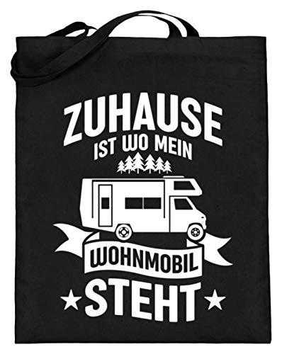 Values Tees Zuhause ist wo mein Wohmobil steht I Camper & Nomaden Geschenk - Jutebeutel (mit langen Henkeln) -38cm-42cm-Schwarz