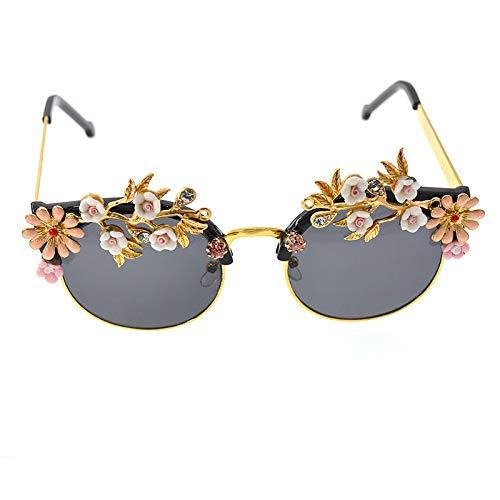 XINMAN Gafas De Sol para Mujer Flores En Relieve Diamante Mariposa Gafas De Sol Viajes Playa Protección Solar Gafas Al Aire Libre