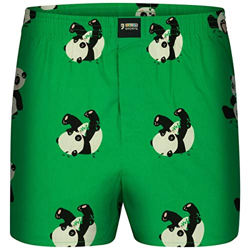 Happy Shorts Boxershorts Herren/Web-Boxer mit Jersey-Inlay – Modell: Pandas XL