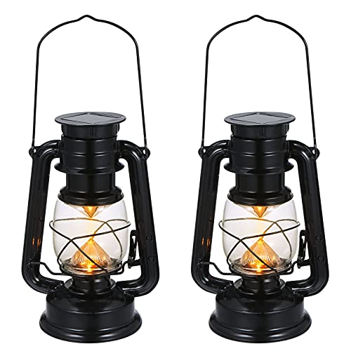 LED Solar Vintage Lantern 2 Packs, Tom-shine Solar Lantern Outdoor Hanging Flickering Metal Antique Lantern for Garden Patio Deck Yard Path