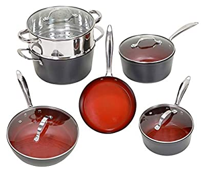 ORGREENIC 10 Piece ALL in One Cookware Set with Non-stick Ceramic Coating, Induction Heat Skillet