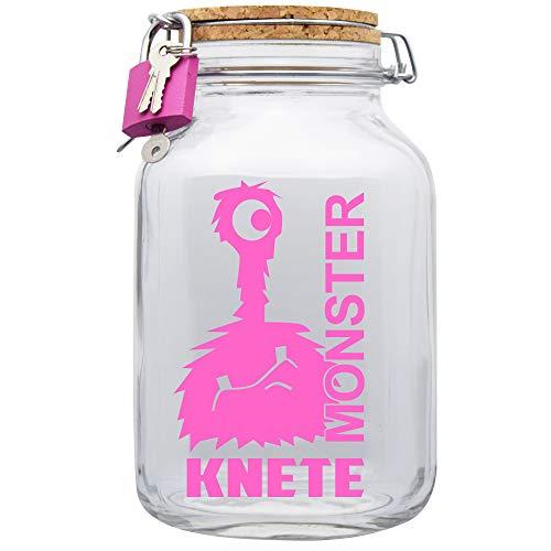 Spardose Monster Knete Pink Geld Geschenk Idee Transparent XXL