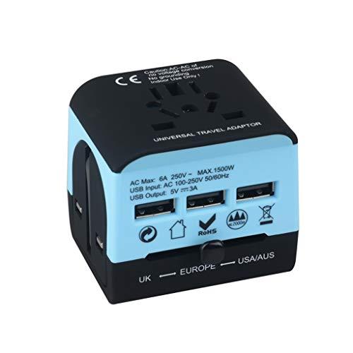 PIAOLING Adaptador de Viaje Mundial, Adaptador de energía Internacional con 3 Puertos USB, Adaptador de Enchufe Universal para EE. UU. UE UE AUS Europa (Color : Blue)
