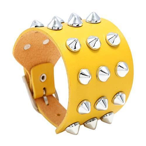 Janly Clearance Sale Pulseras para mujer, hombre, imitación de vacuno, punk, tres remaches, joyería y relojes para Navidad, día de San Valentín (amarillo)