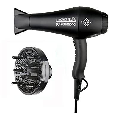 1875w Professional Salon Hair Dryer,Negative Ionic Hair Blow Dryer,AC Motor Infrared Heat Low Noise Hair Dryer,with Concentrator,Diffuser & Comb,ETL Certified, Black