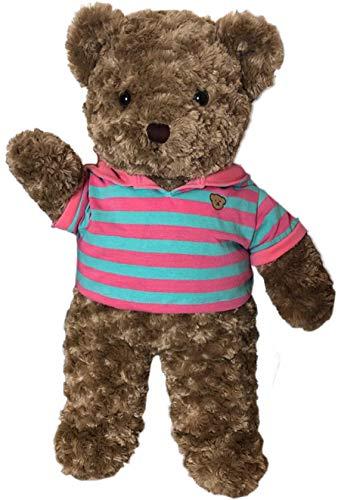 TEDDY HOUSE Orsacchiotto Toby in marrone con polo con cappuccio, 35 cm (= 14 pollici)