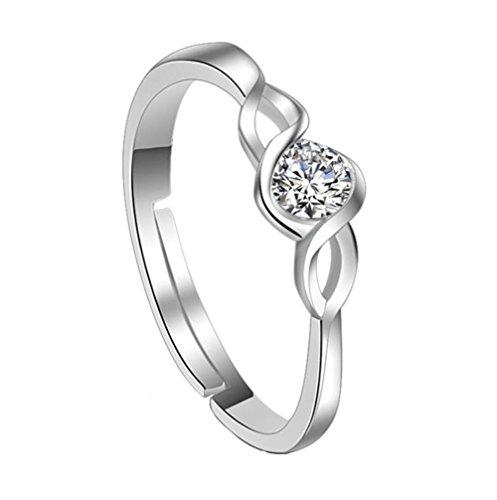 Westeng Zirkon Silberring Verstellbare Größe Offener Ring Damenring Schmuck und Accessoires