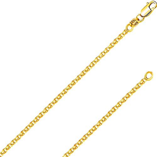 14K Solid Gold Italian Yellow White Gold 1.5mm Flat Open wheat Link Chain Necklace- Made in Italy-14 Karat with Lobster Claw or Spring Ring Clasp Include Gift Box with Order