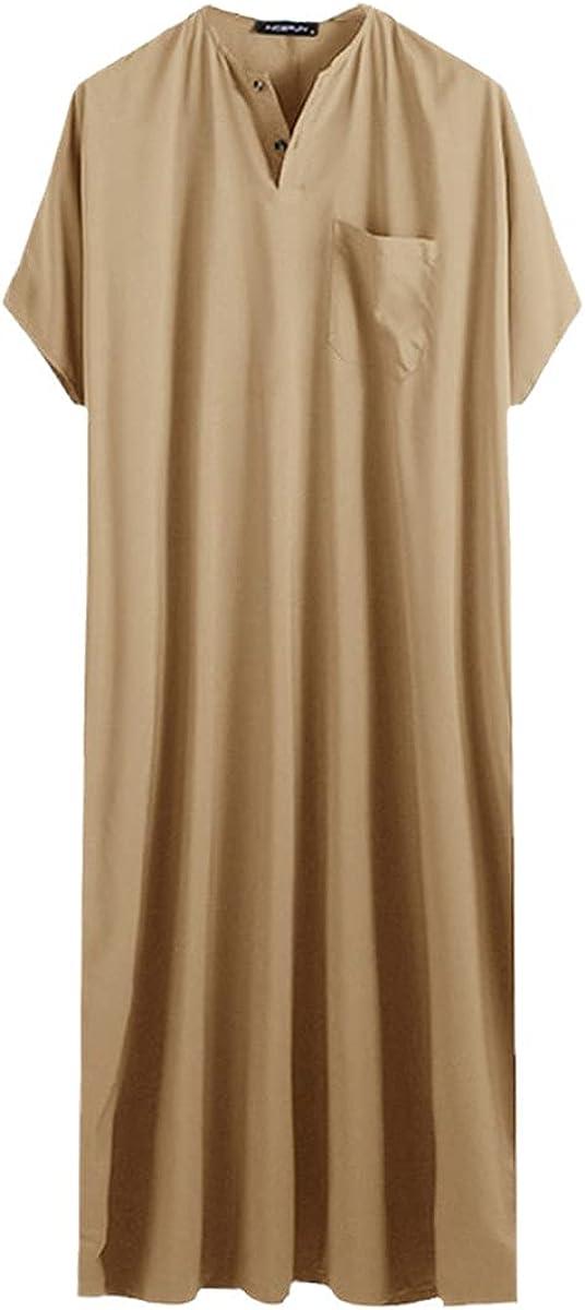 KEHAIOO Men Islamic Arabic Kaftan, Solid Short Sleeve Loose Retro Robes Abaya, Middle East Muslim Jubba Thobe Plus Size