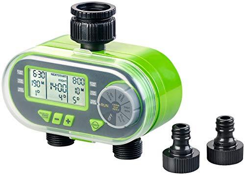Royal Gardineer Bewässerungsuhr: Digitaler Bewässerungscomputer BWC-200 mit 2 Anschlüssen (Bewässerungscomputer 2 Fach)