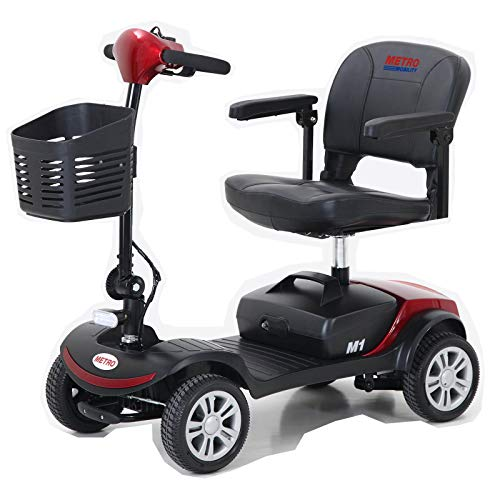 Compact Travel Mobility Scooter for Adults, Seniors - Battery Powered - 4 Wheel - Red Mobility Scooters
