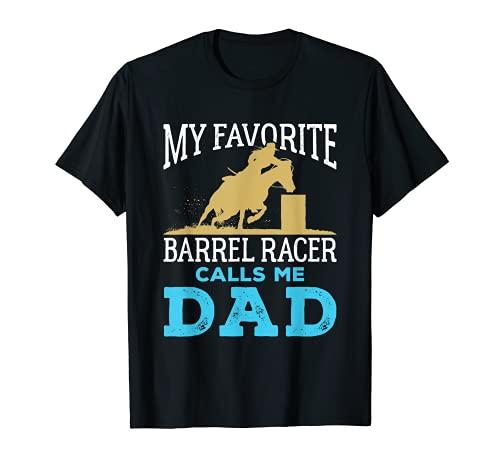 Uomo Barrel Racing Dad Horse Favorite Barrel Racer Father's Day Maglietta