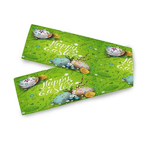 TropicalLife F17 - Camino de mesa rectangular con diseño de huevos de Pascua (33 x 228 cm, poliéster, para decoración de bodas, cocina, fiestas, banquetes, comedores, mesas de centro