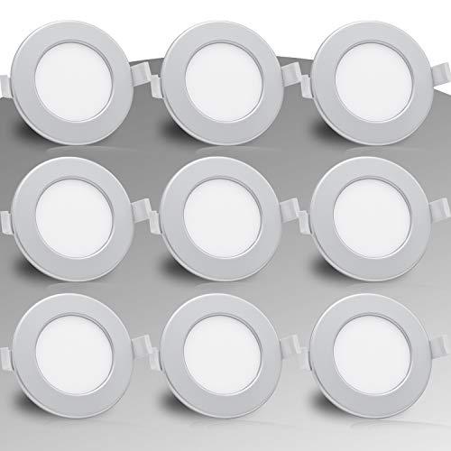 Lumare LED Einbaustrahler 6W 230V IP44 Ultra flach 9er Set Wohnzimmer, Badezimmer Einbauleuchten silber rund 26mm Einbautiefe Mini Slim Decken Spot warmweiß