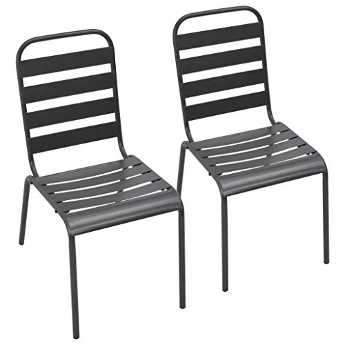 Tidyard Outdoor Stacking Dining Chairs Garden Fueniture 2 pcs powder-coated steel Dark Grey Slatted