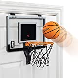 Majik Buzzer Beater Over The Door Hanging Mini Basketball Hoop for Indoor Play - Automatic LED Scoring, Pro-Style Backboard, Breakaway Rim, Comes with Ball and Air Pump