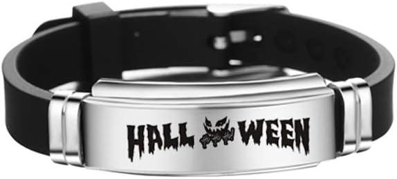 Halloween Skull Bangle Bracelet Stainless Steel Bracelet Personalized Fashion Bangle for Kids Teens (Style 1) Decor for Celebration Party