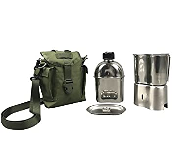 Jolmo Lander Military Canteen Cookware Set Camping Canteen Mess Kit Stainless Steel Canteen with Cup,Lid,Stove,Pouch (Olive Drab set)