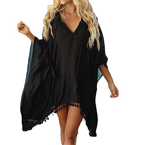 Battnot Damen Bikini Cover Ups Strandkleid Sommerkleid mit Kapuze Sonnenschutz Quaste Chiffon S-XL, Frauen V-Ausschnitt Baggy Badeanzug Abdeckung Vertuschen Bademode Capes Beachwear Badebekleidungs
