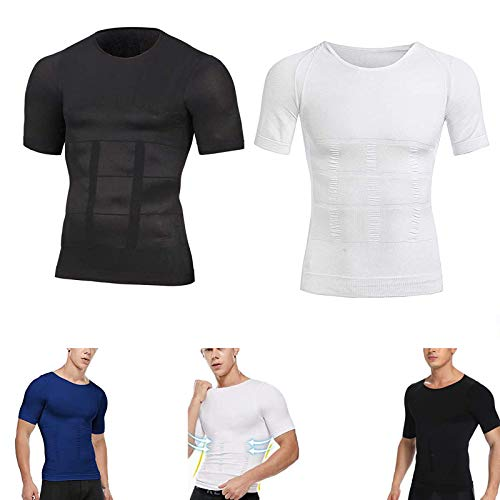 MMENG Camiseta de compresión Adelgazante Moldeadora para Hombre 2021, Corrector de Postura Deportivo, Manga Corta, diseño de conformación científica de 360 ° (Blanco + Negro, L)