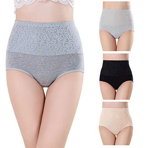 Misolin Bragas Talle Alto Algodón para Mujer Cómodo elástico Bragas Pantalones de Mujer Pack de 3 Negro/Gris/Beige Tag 2XL ⭐