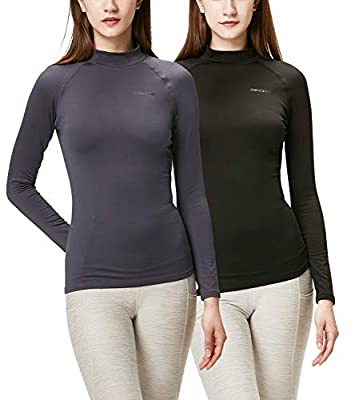 DEVOPS Women's 2 Pack Thermal Turtle Long Sleeve Shirts Compression Baselayer Tops (Large, Black/Charcoal)