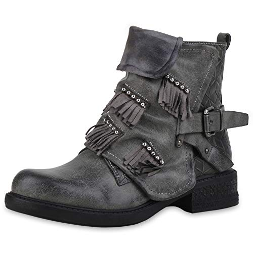 SCARPE VITA Damen Biker Boots Leicht Gefütterte Stiefeletten Fransen Nieten Schuhe Leder-Optik Schnallen 186497 Grau Grey Total 36