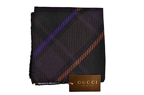 Gucci Tuch Unisex Braun Olivgrün,Orange,Purpur Geometrische Muster Seide 30 x 30