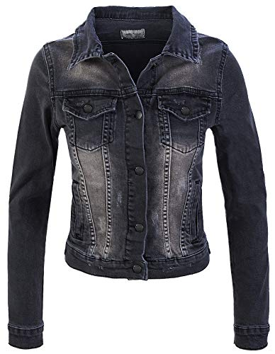 Rock Creek Damen Jeans Jacke Übergangs Jacke Denim Blouson Stretch Kurz Classic Jeansjacken Urban Stonewash D-401 Anthrazit M
