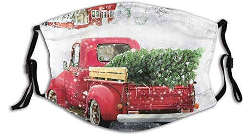 Cloth Face Mask Washable Christmas Vintage Red Truck Snowflake Anti Filter Dust Fabric Mouth Mask Reusable Printed