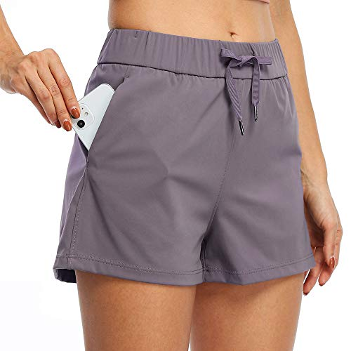 "Willit Women's Yoga Lounge Shorts Hiking Active Running Workout Shorts Comfy Travel Casual Shorts with Pockets 2.5"" Grayish Purple S"
