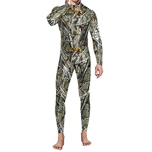 BIONIO Skeleton Halloween Costume for Men,Jumpsuit Luminous Skull Skin Full Body Tights Suit Bone Suit Adult Costume Army Green