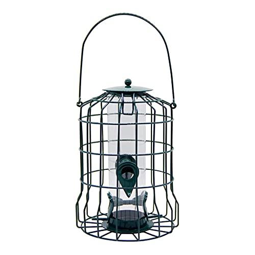 Frotox Comedero de pájaros Colgante, múltiples Puertos de alimentación, Jaula de Metal de Tubo cilíndrico de plástico a Prueba de Ardillas, Adecuado para comedero de pájaros Tubular al Aire Libre