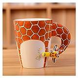 ZBYD Tazza di Ceramica della Giraffa Tridimensionale della Ceramica Creativa 3D Animale Tridimensionale Dipinto a Mano Tazza di caffè del caffè Dipinta a Mano Tridimensionale del Fumetto 622
