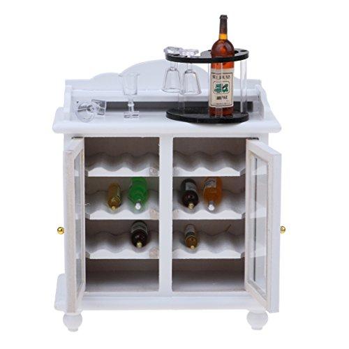 Baoblaze Miniatur Möbel Weinschrank Weinregal Weinflaschen Weinglas Modell für 1/12 Puppenhaus Wohnzimmer Dekoration - Weiß