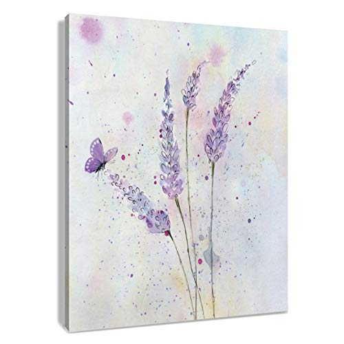 HVEST Lavender Canvas Wall Art Butterfly with Purple Flower Artwork Elegant Paintings for Living Room Bedroom Bathroom Wall Decor,Stretched and Framed Ready to Hang,12x16 inches