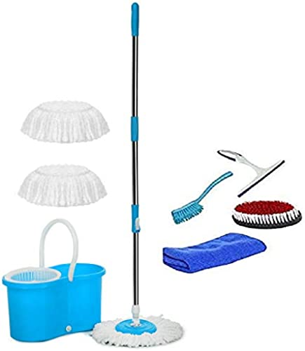 MOP N ME 360 Spin Floor Mop and Bucket with Plastic Spinner 2 Microfiber Refill with Combo Set of Glass Wiper Microfiber Cloth Sink Brush Cloth Brush Blue