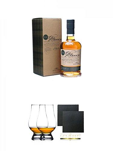 Glen Garioch 12 Jahre Single Malt Whisky 0,7 Liter + The Glencairn Glas Stölzle 2 Stück + Schiefer Glasuntersetzer eckig ca. 9,5 cm Ø 2 Stück
