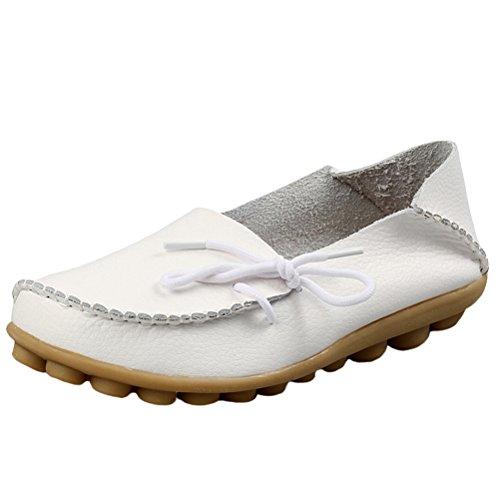 Vogstyle Damen Casual Slipper Flatschuhe Low-top Schuhe Erbsenschuhe Art 1 Weiß 37